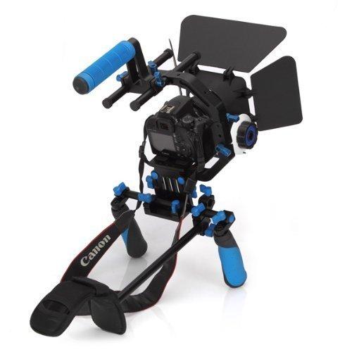 Morros DSLR Shoulder Mount Rig Stabilizer Support System + Follow Focus + Matte Box + Adjust Platform+ C Shape Support Cage +Top Handle for All DSLR Cameras and Video Camcorders by Morros