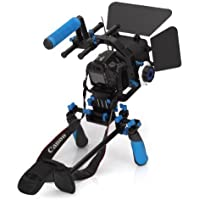 Morros DSLR Shoulder Mount Rig Stabilizer Support System + Follow Focus + Matte Box + Adjust Platform+ C Shape Support Cage +Top Handle for All DSLR Cameras and Video Camcorders