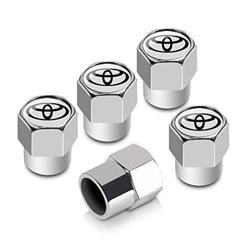 Chrome Logo Valve Stem Caps (Toyota Logo Chrome ABS 5 Tire Stem Valve Caps)