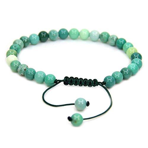 Amandastone Natural Green Chrysoprase Gemstone 6mm Round Beads Adjustable Bracelet 7 Unisex
