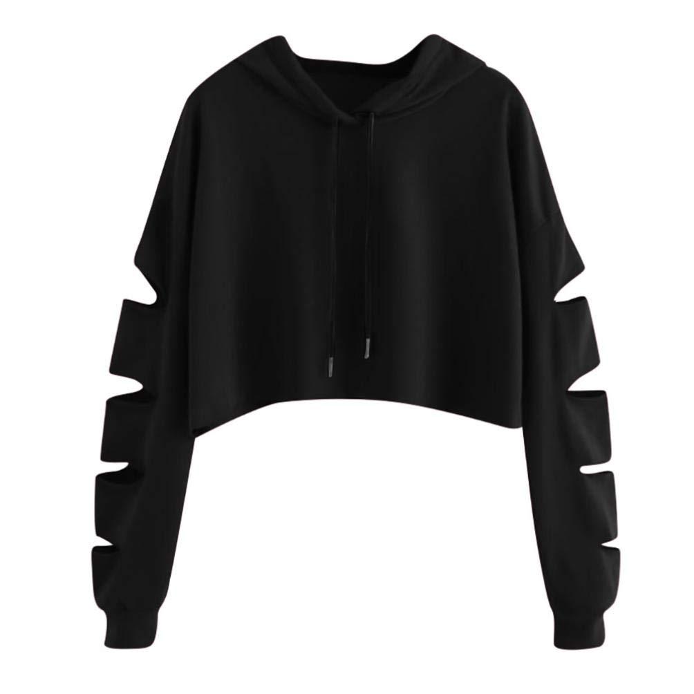 Women's Crop Top Hoodie, Auwer Long Sleeve Lovely Cat Print Sweatshirt Crop Top Hoodies Sweatshirt Jumper Pullover Tops (S, Black)