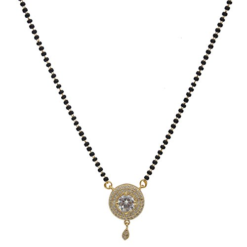 Buy Spangel Fashion Wedding Collection American Diamond Gold Plated  Mangalsutra Necklace For Women at Amazon.in