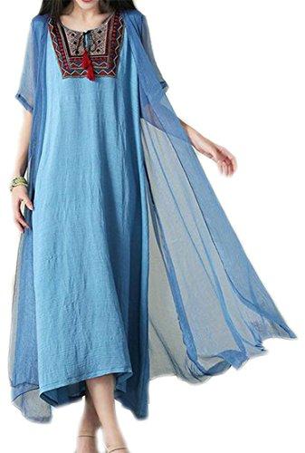 Broderie Cromoncent De Femmes Style Chinois Oscillation Irrégulière Bleu Robe Plissée