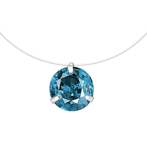CARSINEL Crystals Fishing Line Necklace with Round Cubic Zirconia Pendant for Women and Girls (Denim Blue)