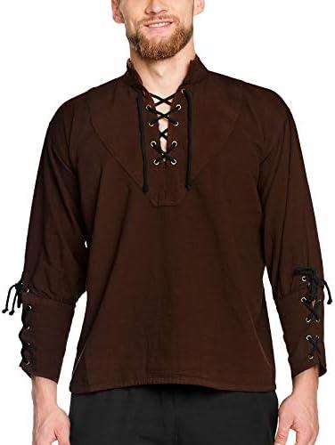 Camisa de pirata con cuello alto, estilo gótico medieval, azul 1605