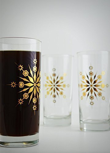 Gold Snowflake Glasses - Set of 2 Gold Holiday Glasses, Gold Christmas Glassware, Holiday hosting by Mary Elizabeth Arts