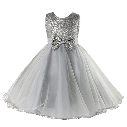 Sparkle Flower Girl Dress - Acecharming Little Girls Lace Sequin Mesh