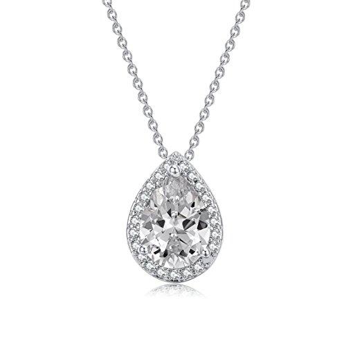 Florensi 1.5ct Cubic Zirconia Teardrop Necklace - Minimalist Everyday Necklaces For Women (Silver Tone) - Minimalist Everyday Necklace