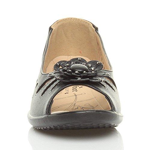 Para mujer con tacón bajo pantallas planas o espacios cojín con forma de cuña cortarse para adaptarse a tus zapatos de una mayor comodidad summer y pedrería para mujer tamaño Negro - negro