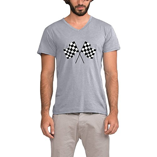 Checkered Flags Race Car Flag Pole Mens V-Neck T Shirt ()