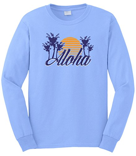Cybertela Men's Aloha Hawaiian Hi Sunset Palm Tree Long Sleeve T-Shirt (Light Blue, - Stores Clothing Waikiki