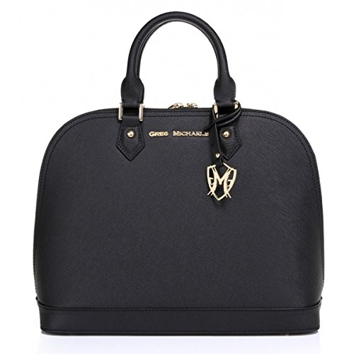 The Isabelle Tote in Black with Saffiano Leather by Greg Michaels