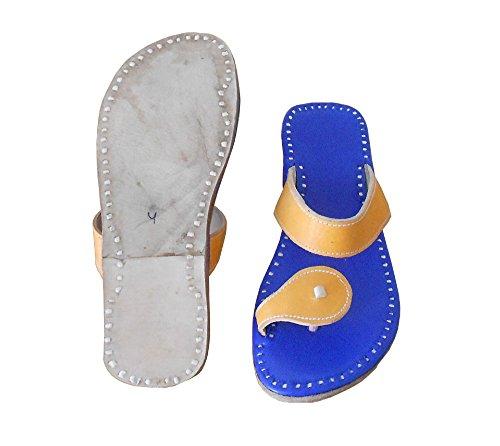Pantoufles traditionnel Indien kalra en Bleu cuir Creations ethnique Veste TFHZRW0P