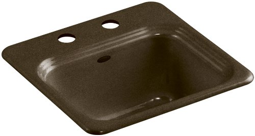 - Kohler K-6579-2-KA Northland Self-Rimming Entertainment Sink with Two-Hole Faucet Drilling, Black 'n Tan