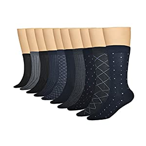 3KB Men's Dress Socks (10 Pairs Per Pack) - Variety of Patterns and Sizes (12 - 15, Classic Collection 1)