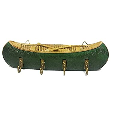 Canoe Decorative Key Hooks / Key Rack / Wall Plaque (Green)