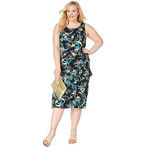 Jessica London Women's Plus Size Side Tie Sheath Dress - 22 W, Black Orchid Floral