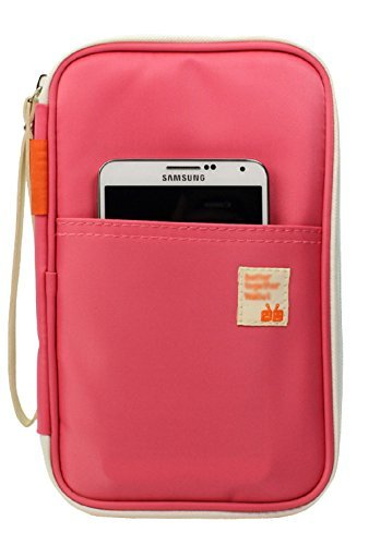 Alisagoo Passport Wallet Multifunction Card Case Waterproof Travel Holder Organizer with Hand Strap (Pink)