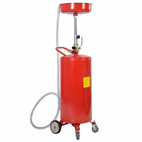 20 Gallon Waste Oil Drain Capacity Tank Air Operate Drainer Portable Wheel Hose Standard Shop Air Pressure Quickly Empty Used Fluids From The Storage Tank (Electric Oil Drain Pan compare prices)