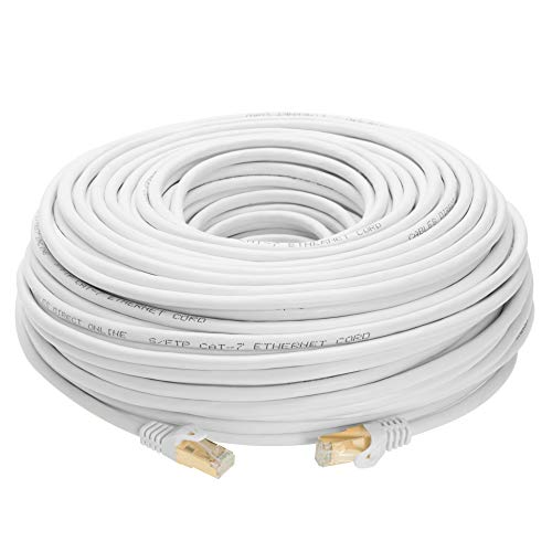200FT S/FTP CAT 7 Gold Plated Shielded Ethernet RJ45 Cable 10 Gigabit Ethernet Network Patch Cord Cat7 (200ft, (White Patch Cord)