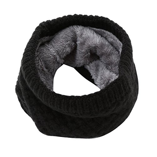 Auwer Clearance Scarf, Winter Neck Warmer Fur Fleece Lined Infinity Scarf Thicken Windproof and Dust Skiing Scarf Face Mask (Black)