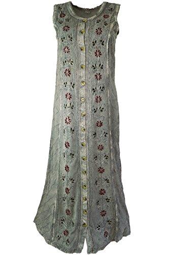 Lange Indisches amp; Damen Kleid Alternative Synthetisch Hippie Guru Beige Shop Kleider Besticktes Midi Bekleidung 0wA4qxZ1