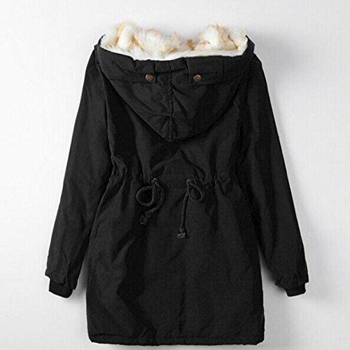 de Xinan de capucha grueso Outwear Parka abrigo con Chaqueta mujer de invierno Negro wrZqSInr1
