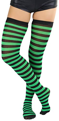 ToBeInStyle Women's Horizontal Striped Thigh Highs - Black/KellyGreen - One Size