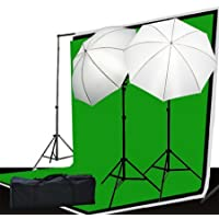 Fancierstudio Video and Photography Lighting Kit - 3 Muslin Backdrop Background Lighting Stand And Lighting Kit - (LS69BWG)