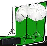 Fancierstudio Video and Photography Lighting Kit - 3 Muslin Backdrop Background Lighting Stand And Lighting Kit - (LS69BWG)