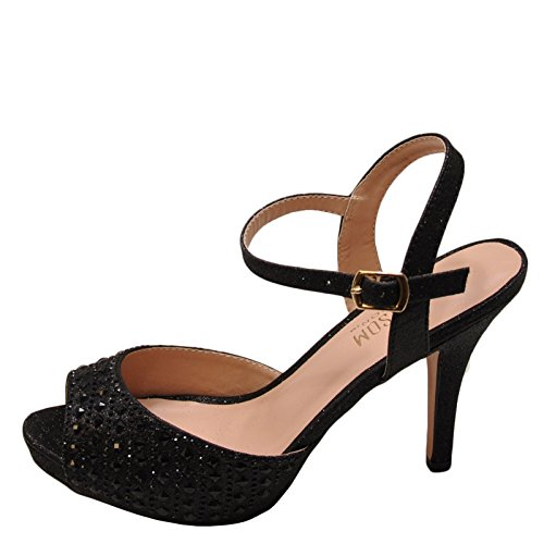 Blossom Robin 214 Women's Peep Toe Crystal Strappy Heel (6, Black Sparkle) (Strappy Low Heel Sandal With Crystals By Blossom)