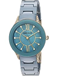 Anne Klein Womens AK/2388BLGB Swarovski Crystal Accented Gold-Tone and Blue Ceramic Bracelet Watch