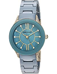 Anne Klein Women's AK/2388BLGB Swarovski Crystal Accented Gold-Tone and Blue Ceramic Bracelet Watch