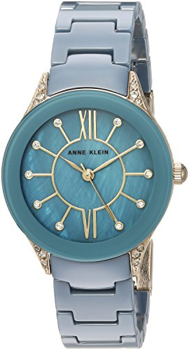 Anne Klein Ladies Crystal - Anne Klein Women's AK/2388BLGB Swarovski Crystal Accented Gold-Tone and Blue Ceramic Bracelet Watch