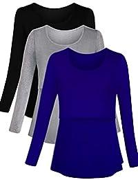 PrettyLife Maternity Nursing Tops Long Sleeve Layered Breastfeeding Shirt 3-Pack