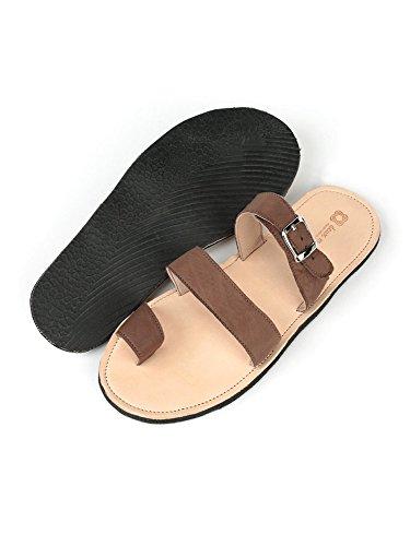 Två Mens Räcker Design Vacker Läder Sandal Nanm Lera
