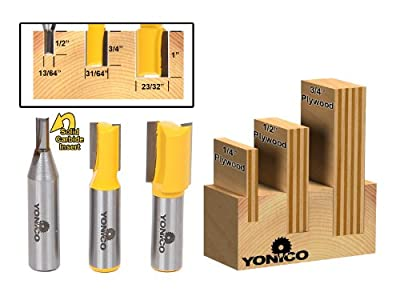 Yonico 14323 3 Plywood Dado Router Bits for 3/4-Inch 1/2-Inch and 1/4-Inch Plywood 1/2-Inch Shank by Precision Bits.com