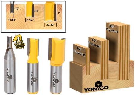 Yonico Router Bits Set Dado Straight Bit Undersize Plywood 3 Bit 1/2-Inch Shank 14323
