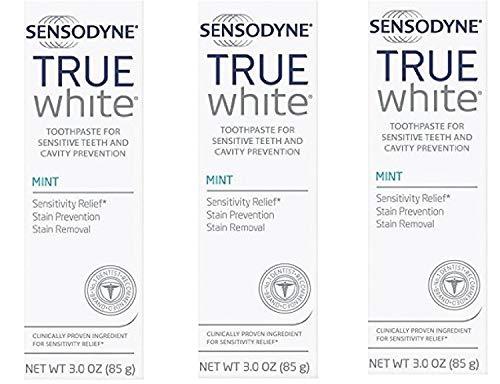 Sensodyne True White Fluoride Toothpaste for Sensitive Teeth, Mint, 3.0 oz (Pack of 3)
