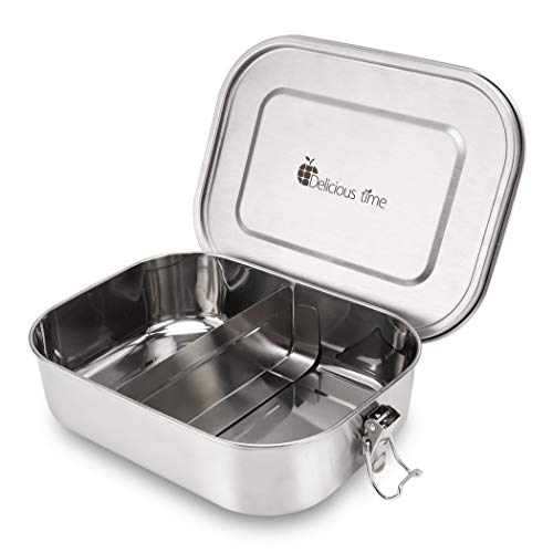 Leak Proof Stainless Steel Food Storage Containers,Bento Lunch Box,With Leakproof Silicone lids,Perfect for both Kids and Adults,Eco friendly,Dishwasher Safe,BPA free for Work or Healthy School ()