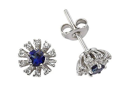 Birgie Diamants et Bijoux -Boucles d'Oreilles Saphirs et Diamants-Femme- or Blanc 204E0036