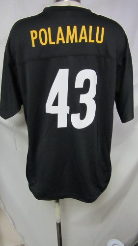 NFL Pittsburgh Steelers Youth Large (14-16) Polamalu #43 Black Screened Jersey