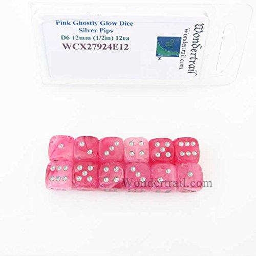 お気に入りの Pink of Ghostly Silver Glow Dice with Silver Pips Set 12mm (1/2in) D6 Set of 12 Wondertrail B073YSB4T8, 日本製インナーのマリイクラブ:13347f89 --- arianechie.dominiotemporario.com