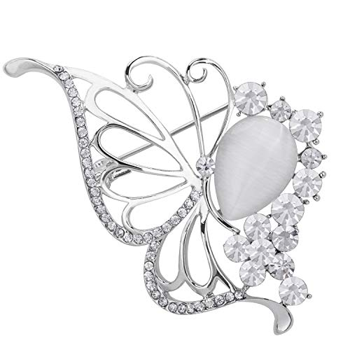 VVANT Brooches for Women with Crystal,Sliver Butterfly Brooch Pins,Fashion Brooch Gifts for Valentine's Day/Wedding/Birthday(Butterfly Sliver)