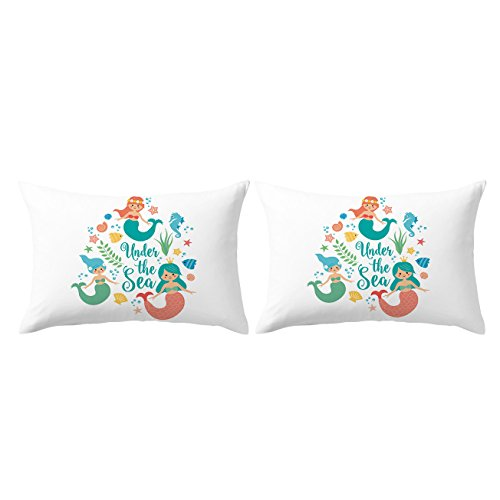 ARIGHTEX Mermaid Pillow Case Aqua Blue Turquoise Pillowcases Under The Sea Pillow Case Sealife Pillow Covers Set of 2 (Mermaids, King 20