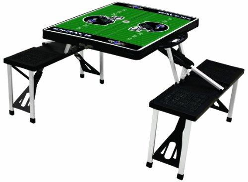 NFL Baltimore Ravens Football Field Design Portable Folding Table/Seats, Black