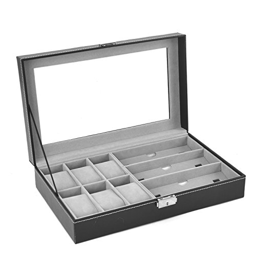 Autoark Leather 6 Watch Box Jewelry Case and 3 Piece Eyeglasses Storage and Sunglass Glasses Display Case Organizer,Black,AW-004