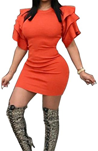 Orange Cromoncent Dress Solid Bodycon Sleeve Crewneck Ruched Mini Ruffled Womens Short wSgrOwvq