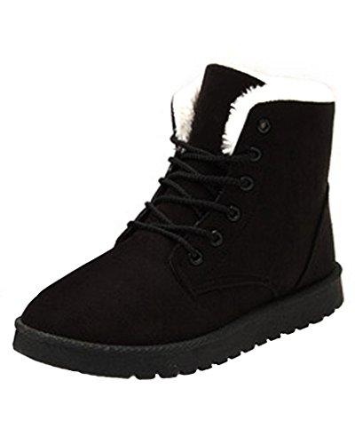 Minetom Damen Herbst Winter Schnür Boots Schuhe Stiefel mit Warm Gefüttert Schlupfstiefel Stiefelette Bootsschuhe Schwarz
