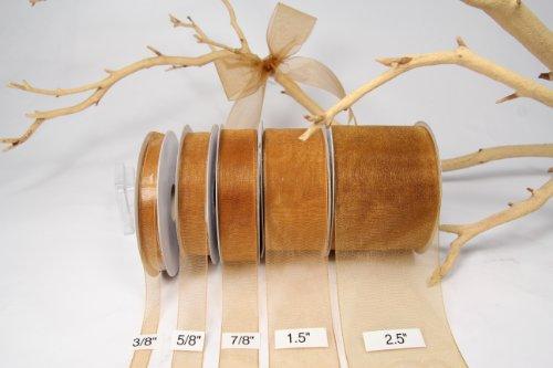 Old Gold Organza Sheer Ribbon-25 Yards X 7/8 Inches